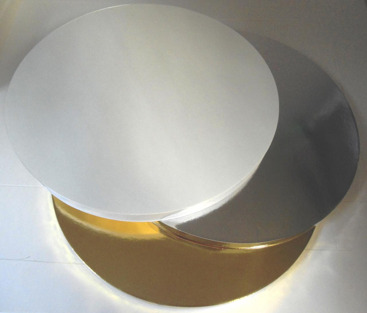 Подложка усиленная под торт золотая D 25cm, h 2cm (код 05734)