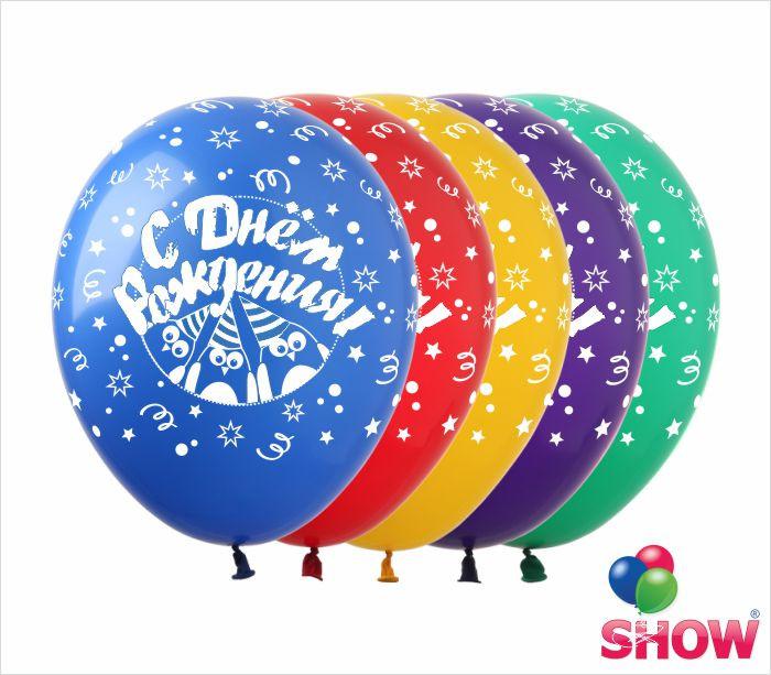 """Латексные воздушные шары с рисунком """"С днем Рождения (пингвины)"""", 12 дюймов (30 см),шелкография 5 сторон,100шт"""
