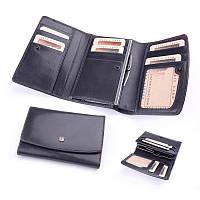 Бумажник женский из итальянской кожи (черный, красный)
