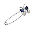Восхитительная серебряная булавка Бабочка, родированная с фианитами , фото 4
