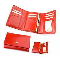 Бумажник-кошелек женский из итальянской кожи (черный, красный)