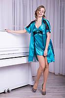 Нежный женский комплект халат+ночнушка