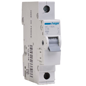 Автоматический выключатель Hager MC116A 16A 6кА 1 полюс тип С