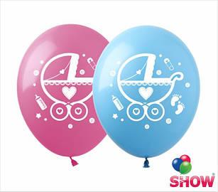 """Латексные воздушные шары с рисунком """"Коляски"""", диаметр 12 дюймов (30 см.), печать шелкография 2 стороны,100 шт"""