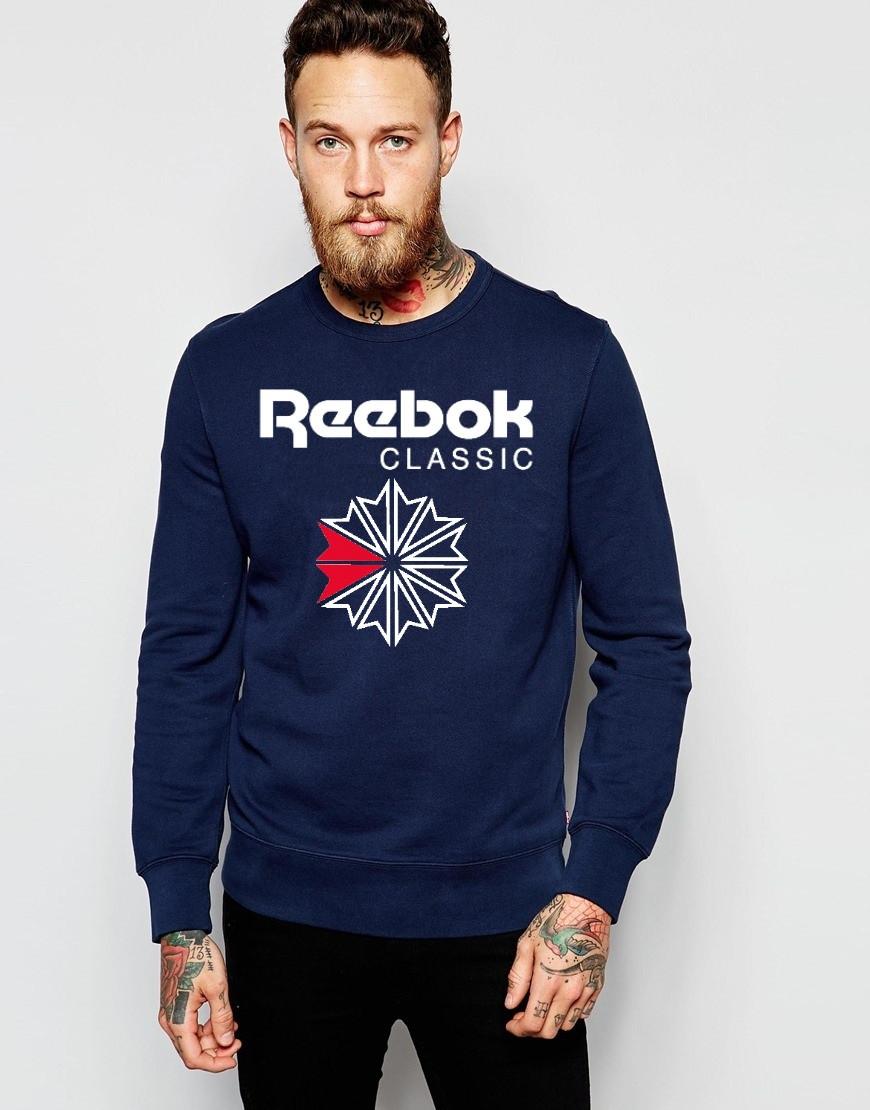 Мужской Свитшот Reebok т.синий с принтом