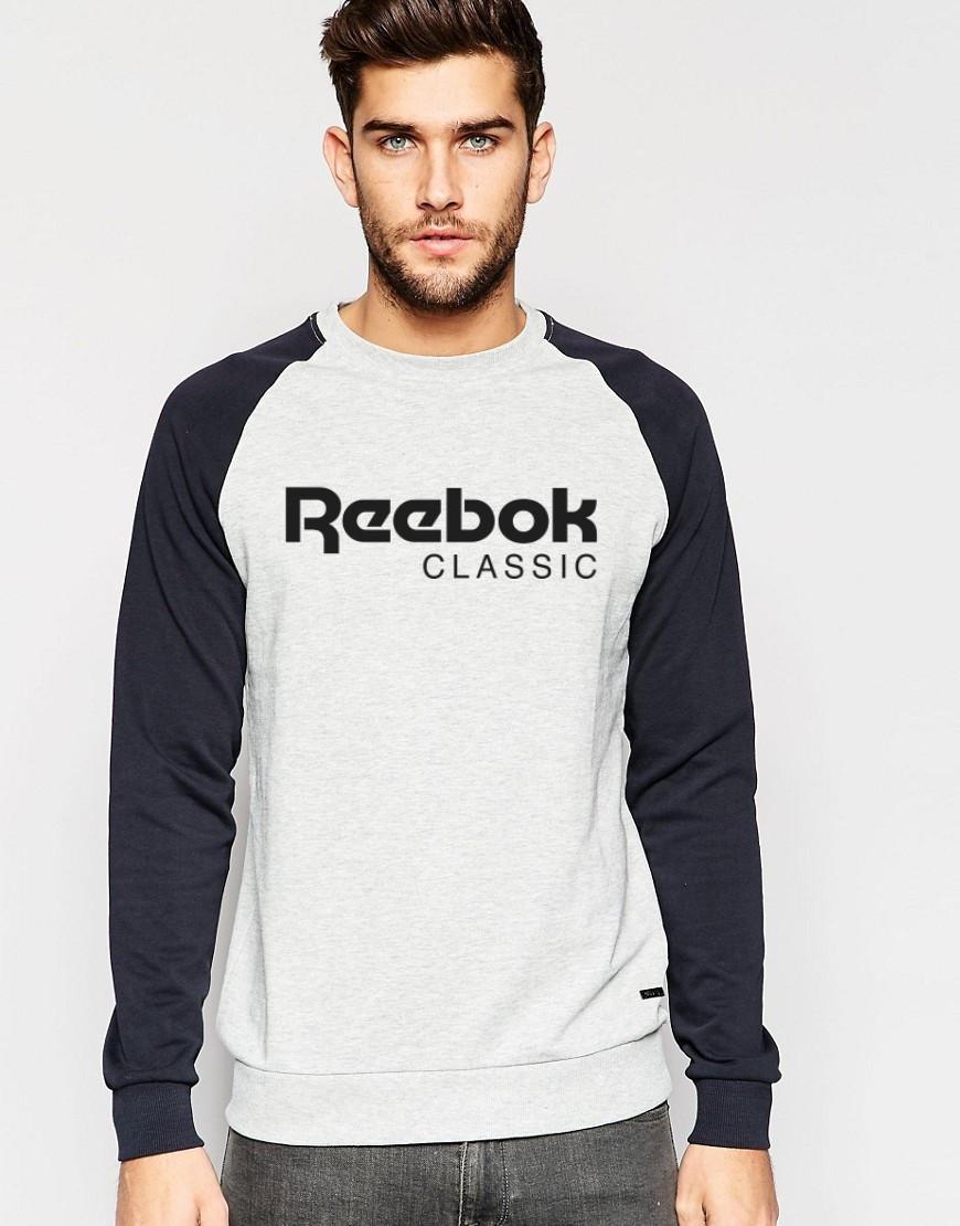 Мужской Свитшот Reebok с черным рукавом (комбо)