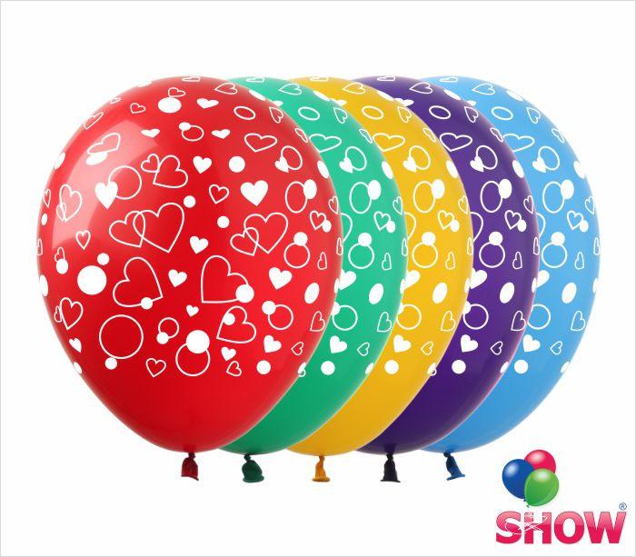 """Латексные воздушные шары с рисунком """"Сердечки маленькие"""", диаметр 12 дюймов (30 см),шелкография 5 сторон,100шт"""