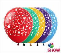 """Латексные воздушные шары с рисунком """"Сердечки маленькие"""", диаметр 12 дюймов (30 см),шелкография 5 сторон, 50шт"""