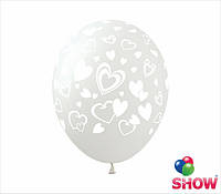 """Латексные воздушные шары с рисунком """"Сердечки россыпь прозрачные"""", 12 дюймов (30 см.), 5 сторон, 100шт"""