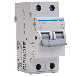 Автоматичний вимикач Hager MC216A 16A 6кА 2 полюси тип С