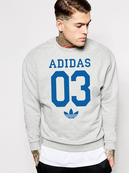 Мужской Свитшот Adidas 03 (синий принт)