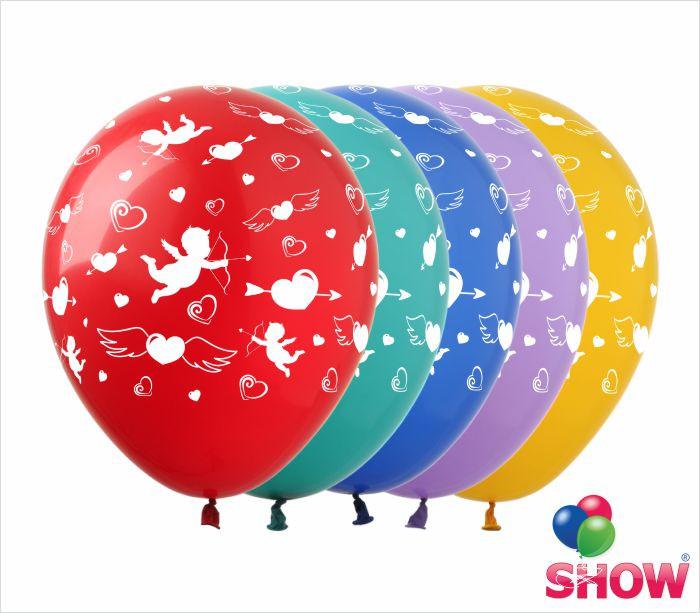 """Латексні повітряні кулі з малюнком """"Сердечка і купідон"""", діаметр 12 дюймів(30 см),шовкографія 5 сторін,100шт"""