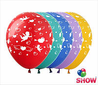 """Латексные воздушные шары с рисунком """"Сердечки и купидоны"""", диаметр 12 дюймов(30 см),шелкография 5 сторон,100шт"""