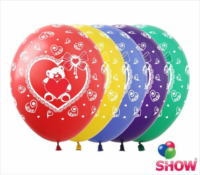 """Латексные воздушные шары с рисунком """"Мишка с сердцем"""", диаметр 12 дюймов (30 см.), шелкография 5 сторон, 100шт"""