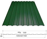 Профнастил зеленый ПС-20, 0,40мм; высота 1.75 метра ширина 1,16 м