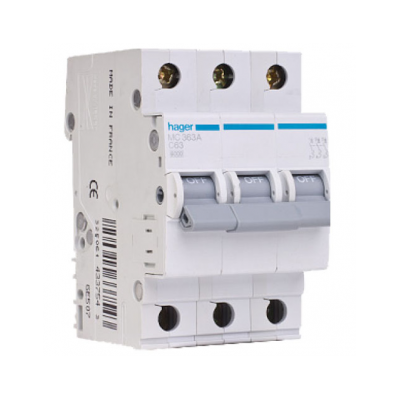 Автоматичний вимикач Hager MC310A 10A 6кА 3 полюса тип С