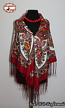 Женский павлопосадский бордовый платок Виталина, фото 3