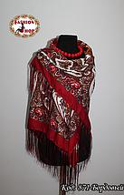 Женский павлопосадский бордовый платок Виталина, фото 2