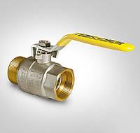 Кран латунный шаровый для газа 1/2 дюйма KOER KR.215.G (гайка/штуцер/ручка)