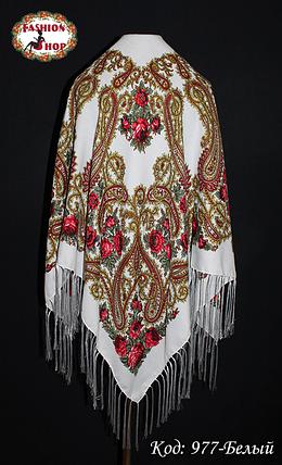 Женский белый павлопосадский платок Анастасия, фото 2
