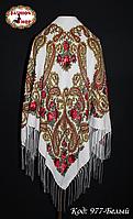 Женский белый павлопосадский платок Анастасия