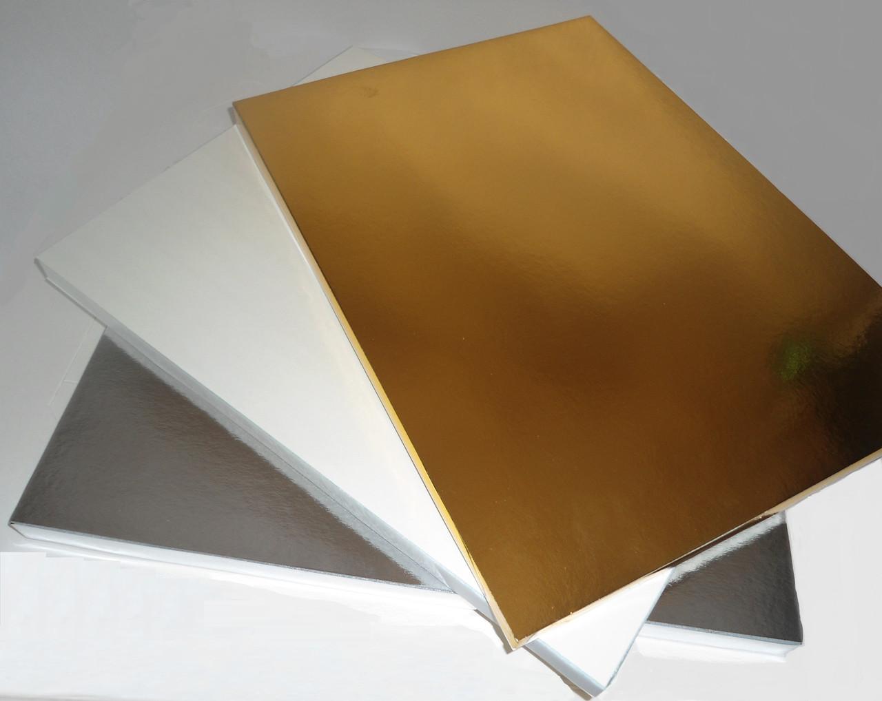 Подложка усиленная под торт серебряная 30x40 cm (код 04829)