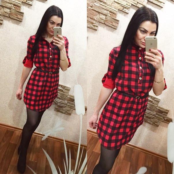 fad76ba87f1 Платье рубашка в клетку mr-409 — купить недорого в Харькове в ...