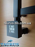 Чёрный квадратный плоский ТЭН: регулятор + таймер + маскировочный элемент для провода. Мощность: 120-1000Вт.