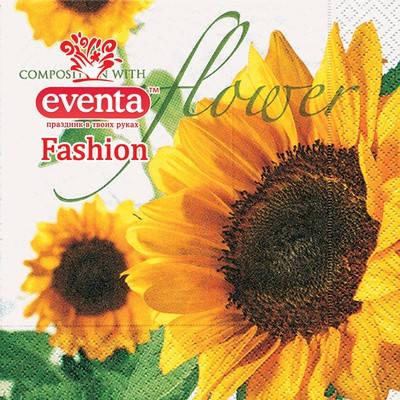 Салфетки столовые Eventa Fashion трехслойные Цветы. Подсолнух 33х33 см 20 шт , фото 2