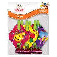 Дудки-язычки пластиковые Eventa Party с картонным декором 6 шт