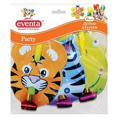 Дудки-язычки пластиковые Eventa Party с картонным декором Зверята 6 шт
