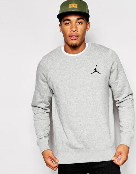 Мужской Свитшот Jordan серый с маленьким лого