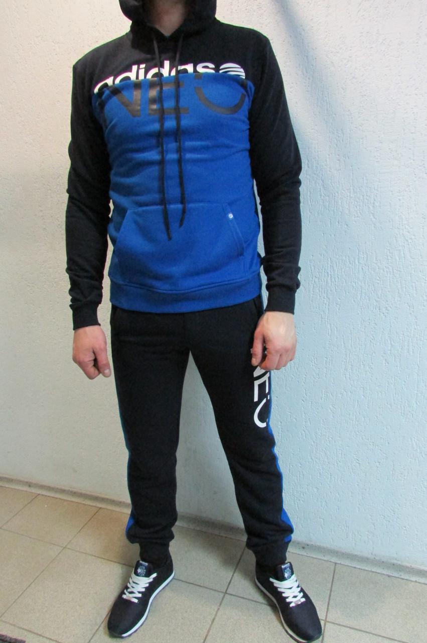 116e3907 Мужской спортивный костюм Adidas 3474-2 темно синий с голубым код 344б -  СПОРТ-