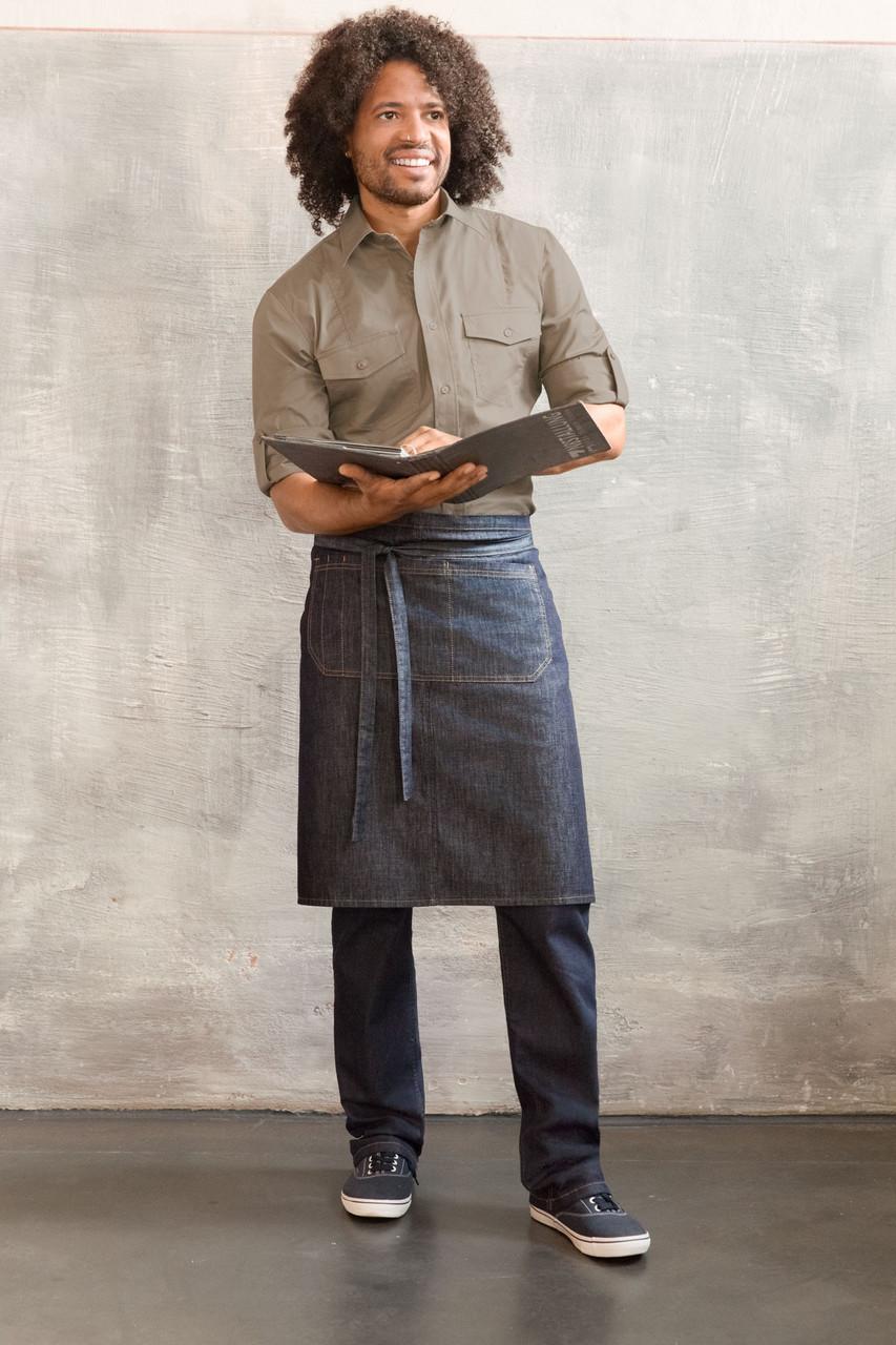 Передник джинсовый для официанта и бармена TEXSTYLE поясной стандарт