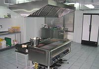 Зонт островной с фильтрами с подсветкой 2000х1100х400 мм из нержавеющей стали, фото 1