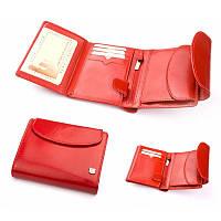 Бумажник-кошелек женский из итальянской кожи (красный, оранжевый)