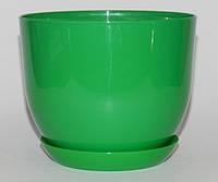 Горщик Глянець Класік з підставкою / Горшок Глянец 5л d-22см,h-18см Ярко-Зеленый