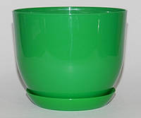 Горщик Глянець Класік з підставкою / Горшок Глянец 3,3л d-19см,h-17см Ярко-Зеленый