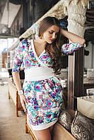 Женское платье в цветы на запах батал