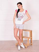 Женская белая футболка с цветным принтом ТМ Роксана