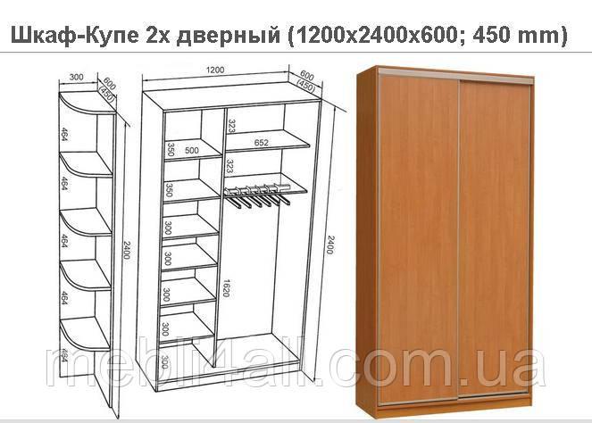 Шкаф-Купе 2х дверный 1200мм