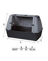 TRIXIE Box transporter traveller 77 x 61 x 43 см черно-серый
