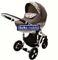 Коляска Bebe Mobile Toscana 640К бежевый-цветы-коричневый лен, фото 1