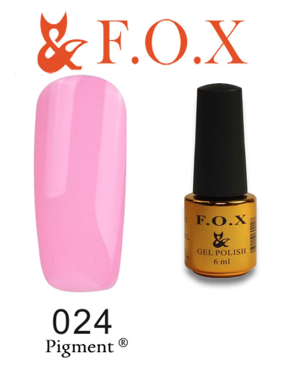 Гель-лак FOX № 024 (светлый розовый), 6 мл