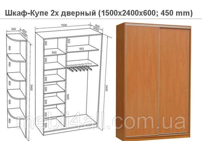 Шкаф-Купе 2х дверный 1500мм