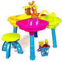 Столик детский песочный с набором игрушек и стульчивом 01-121