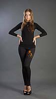 Лосины классика с вышивкой (девушка) черный