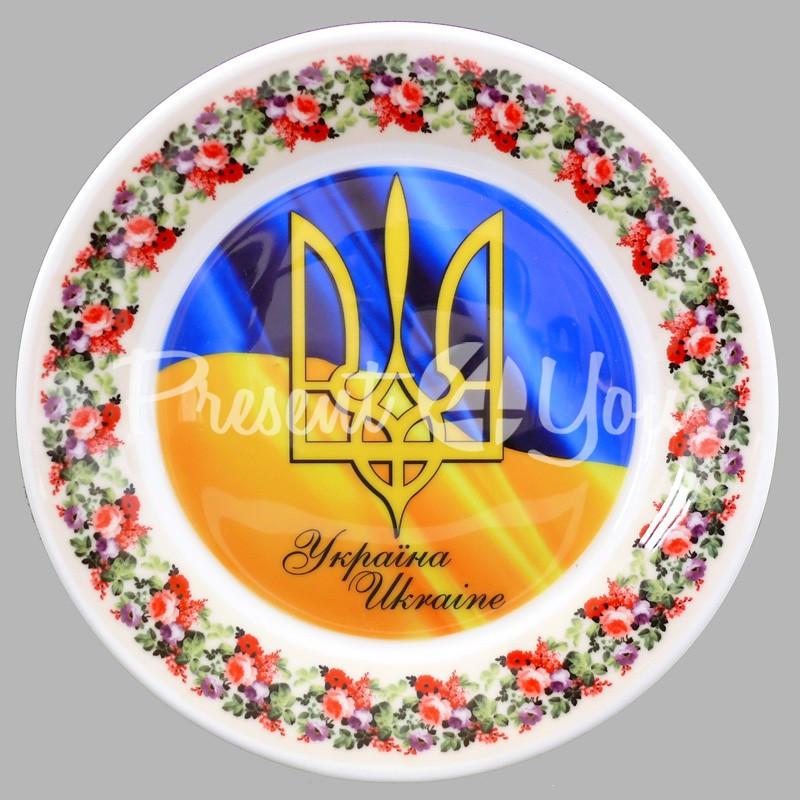 Тарелка декоративная «Тризуб Украины», 19 см.