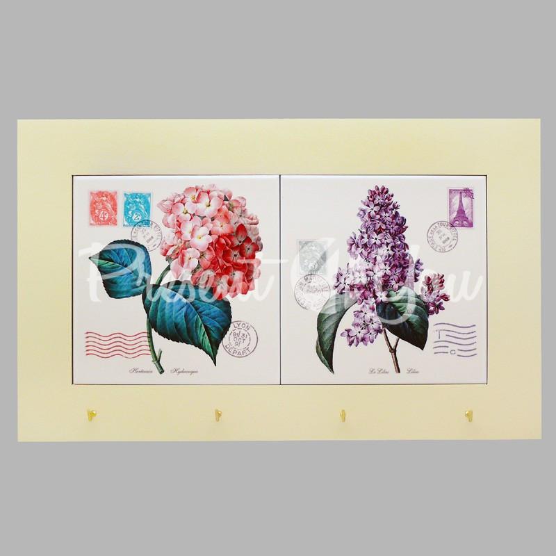 Панно настенное горизонтальное с крючками «Прованс. Цветы», 15х30, 38х23 см.