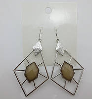 Стильные женские серебристые серьги геометрического стиля с коричневым камнем от H&M